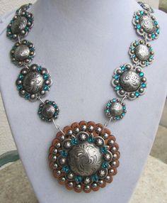 Chunky Concho Necklace, Leather Pendant, Blue Zircon Genuine Swarovski Crystals
