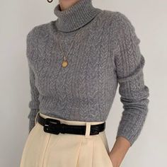 Stunning ash gray turtleneck in pure cashmere. On the dreamiest, cloud -… - vintage outfits Look Fashion, Korean Fashion, Winter Fashion, Fashion Outfits, Fashion Art, Fashion Shoes, Mens Fashion, Fall Outfits, Casual Outfits