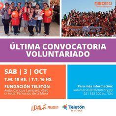 ULTIMA CONVOCATORIA! Para unirte al equipo de voluntarios para la Teletón 2015. Te esperamos el sábado 3 de octubre a las 10hs. y 16hs. en la Fundación Teletón de Asunción.  Avisale a todos tus amigos. #DaleParaguay