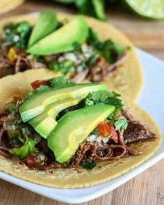Crock Pot Beef Carnitas Tacos. Substitute tortillas for lettuce leaves!