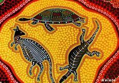Kangaroo, goanna and turtle. By Naiura. Aboriginal art, Australia. Vibrant yellow, orange, black and browns.