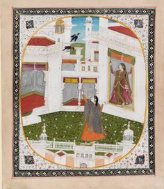 Two ladies in a palace courtyard watching a pair of ravens  Maker: Unknown; miniaturist  Category: miniature (painting)  School/Style: Kangra School