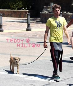 Andrew Garfield walking a Border Terrier... dude, that's the kind of dog i have!