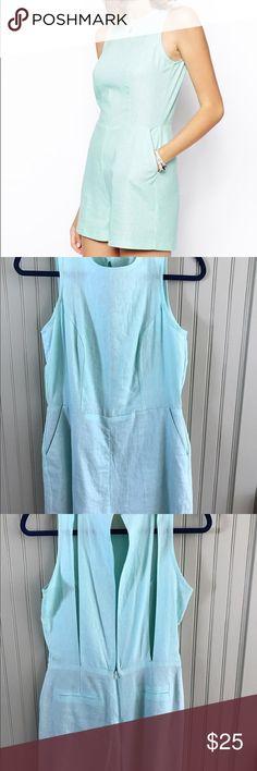 Linen Romper Linen romper with back cutout detail. Worn once. Excellent condition. ASOS Dresses