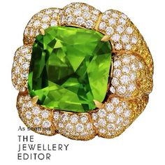 Many thanks to @thejewelleryed for featuring the very special 28.19ct Peridot Ring set with White and Yellow Diamonds.