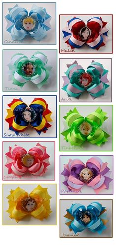Disney Princess Boutique Bottlecap Hairbows Cinderella Snow White Sleeping Beauty Belle Perfect Party Favors. $33,00, via Etsy.