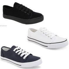 ee27fa3a65c0 NEW WOMENS DUNLOP LACE UP CANVAS FLAT PUMPS PLIMSOLLS TRAINERS LADIES SHOES  SIZE