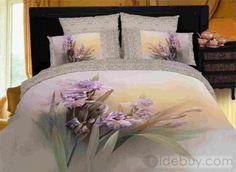 Hermosas flores de pintura púrpura Imprimir ropa de cama de algodón 100 (Envío Gratuito)