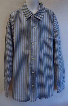 Gap Kids Boys XL 12 Shirt Blue Green Stripe Button Down Long Sleeve #GapKids #DressyEveryday
