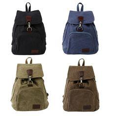 Vintage Women Men Outdoor Canvas Backpack Travel Students School Shoulder Bag Zd