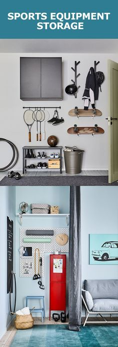 Sports gear can be bulky, oddly shaped, and not so nice to look at. Luckily, we've got three ways to keep it all sorted and ready to go. Organisation Ikea, Sports Equipment Storage, Built Ins, Mudroom, Sweet Home, Design Inspiration, Ranger, Alcove, Furniture