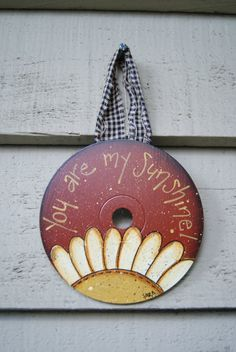 Spring Decor Hand Painted CD Ornament You are My by Ramshackles, $7.25