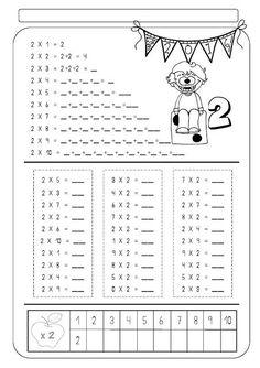 Nom: Data: 2 x 1 = 2 2 x 2 = 2 + 2 = 4 2 x 3 = 2 + 2 + 2 = 2 x 4 _ = _ + _ + _ + _ = _ 2 x 5 = _ + _ + + _ _. Math Worksheets, Math Resources, Math Activities, Teaching Tips, Teaching Math, Math Multiplication, Primary Maths, Speech Language Therapy, Arithmetic