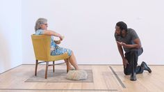 Kalup Linzy with Duane Hanson's sculpture of a woman