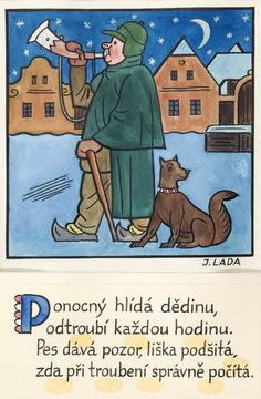 Kalamajka – Ponocný hlídá dědinu, 1913 Nocturne, Folklore, Illustrators, The Past, Clip Art, Cartoon, Comics, History, Retro