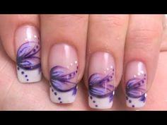 Nail Art Tutorial - Pinselmalerei mit Acrylmalfarbe lila, flieder & weiss  stripes,  dots   Hier mal wieder ein schnell gemachtes simples nailart design.