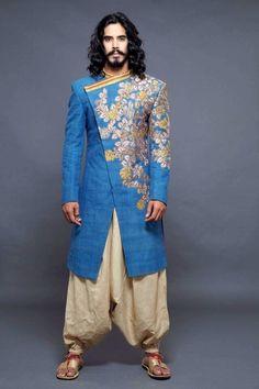 sherwani with dhoti, dhoti pants, blue sherwani