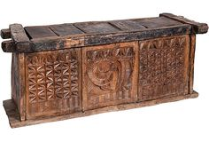 Nagaland Grain Storage Chest-19th C-hand-carved grain storage chest with carved image of a bird.