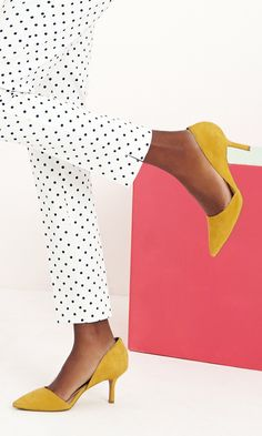 Mustard yellow mid heel pumps with pointed toes