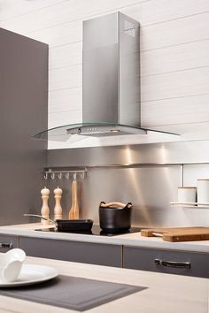 Liesituuletin voi olla keittiön katseenvangitsija. Kuvassa liesituuletin Cello Ares. #liesituuletin #moderni keittiö Double Vanity, Sink, News, Heart, Kitchen, House, Inspiration, Design, Home Decor