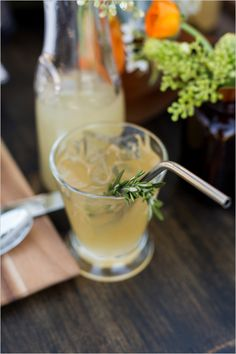 This rosemary infused lemonade can be a cocktail or mocktail! #weddingchicks Captured By: Lightbox Photography http://www.weddingchicks.com/2014/06/20/funky-braided-wedding/