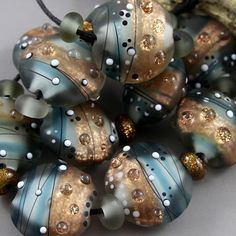 Magma Beads Goldstone Rivers Lentils Handmade Lampwork Beads | eBay
