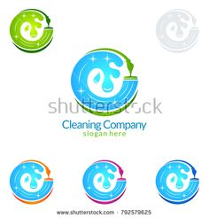 Cleaning Service vector Logo design, Eco Friendly Concept with shiny splash isolated on white Background Cleaning Company Logo, Cleaning Service Logo, Cleaning Companies, Vector Logo Design, Company Slogans, Professional Logo Design, Newsletter Templates, Image Collection, Branding