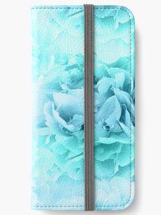 """Aqua Blue Ocean Peonies Dream #1 #floral #decor #art"" iPhone Wallets by anitabellajantz | Redbubble"