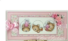 Adorable Three Little Bears by Bev Rochester for LOTV Baby Girl Cards, New Baby Cards, Handmade Gift Tags, Handmade Birthday Cards, Card Making Inspiration, Making Ideas, Baby Shower Invitaciones, Birthday Cards For Boys, Card Sketches
