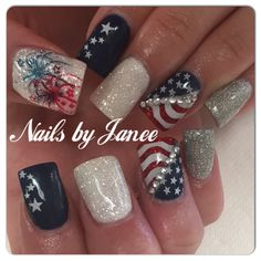of July, Red White & Blue Nails Janee awildhairsalonreno Holiday Nail Designs, Holiday Nails, Christmas Nails, Seasonal Nails, Nail Polish Designs, Acrylic Nail Designs, Nail Art Designs, Nails Design, Acrylic Nails