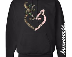 Heart Logo Hoodie Browning Sleeve Pink Camo by GearUpApparel