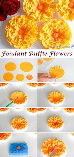 How to Make Fondant Ruffle Flowers - Roxy's Kitchen