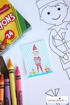 Elf-Sized-Coloring-Sheet-Printable - you can print one of these holiday coloring pages for your child and one for their elf.  They can color the pictures together.