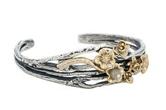 Flower branch cuff by Lotta Jewellry - Bracelets - Cuff in Sterling silver with gold plated flowers. One of the flowers has a Cubic Zirconia in the middle. Flower Branch, Sterling Silver Bracelets, Branches, Labradorite, Cuff Bracelets, Heart Ring, Wedding Rings, Engagement Rings, Jewellery