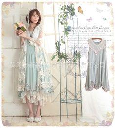 Japanese Sweet Lolita Mori Girl Retro Lace Sleeveless Dress jumper skirt #25