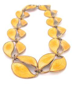 David-Andersen double large leaf yellow enamel necklace