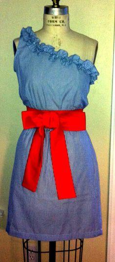 Seersucker dress one shoulder  ruffle by RysaRuth on Etsy, $44.00