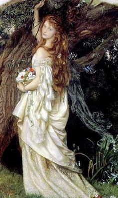 """""""Ophelia"""" by Arthur Hughes (1852).  In this painting Hughes depicts Ophelia as a sickly, pale, almost girlish figure who looks down into the water and idly drops blossoms into the stream."""