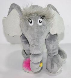 "Dr. Seuss Horton Hears a Who Plush Stuffed  Animal Gray Elephant 10.5"""