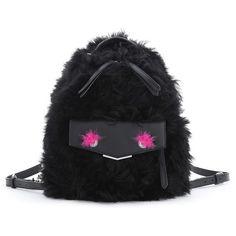 Fendi 'Mini Monster' Genuine Shearling & Genuine Mink Fur Backpack (9.015 BRL) ❤ liked on Polyvore featuring bags, backpacks, backpack sling bag, backpack bags, day pack backpack, zip top bag and shearling backpack