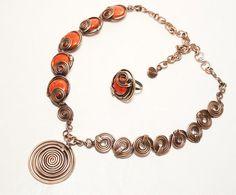 Copper Jewelry Coral Necklace Coral Jewelry Asymmetrical | Etsy Copper Wire Jewelry, Coral Jewelry, Wire Wrapped Jewelry, Gemstone Jewelry, Coral Ring, Copper Anniversary Gifts, Schmuck Design, Handmade Jewelry, Handmade Copper