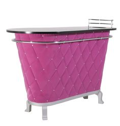 KARE Design Rockstar Bar Purple aus lackiertem MDF, mit Acrylknöpfen, PU-Schaum, verchromtem Stahlrohr und einem Bezug aus Polyestersamt in purpur.