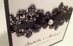 Black and white wedding invitations - Love in Venice - Venetian Black Lace- Invites