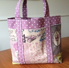 Lovely French style fabric tote bag with 6 external pockets