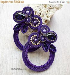 ON SALE Purple soutache earrings with beautiful swarovski