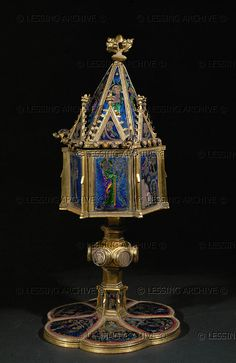 Ciborium. A gift from the Abbot of Tennenbach, near Freiburg, Germany. Copper and enamel (mid 14th) Castle,Hamburg,Germany
