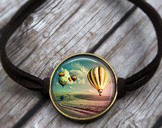 Hot Air Balloon Bracelet, Wanderlust Bracelet, Traveler Jewelry