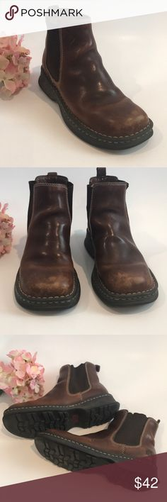 Born Brown Leather Ankle Boots (Size 6.5) Very comfortable brown leather boots with rubber sole and leather insole.  Elastic sides and tab on the back allows you to easily pull the boots on.  Although these are size 6.5, I'd say it'd be a better fit for someone between a 6-6.5. Born Shoes Ankle Boots & Booties