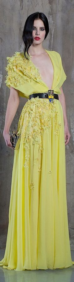Basil Soda couture 2016 spring summer Elie Saab, Couture Fashion, Runway Fashion, High Fashion, Basil Soda, Yellow Fashion, Mellow Yellow, Yellow Black, Beautiful Gowns