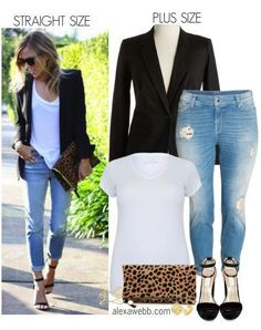 Straight Size to Plus Size - Black Blazer & Jeans - alexawebb.com